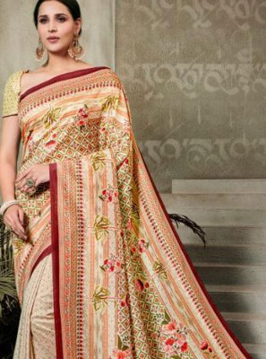 Tussar Silk Multi Colour Digital Print Trendy Saree