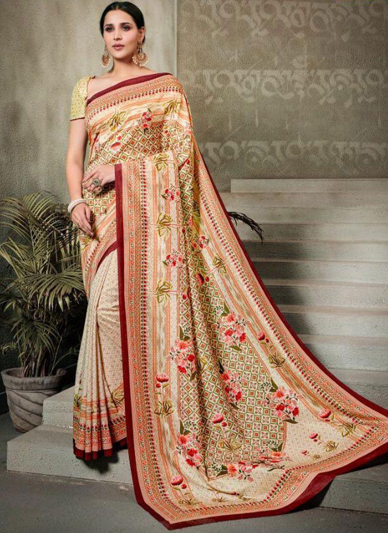 Tussar Silk Multi Colour Digital Print Trendy Saree