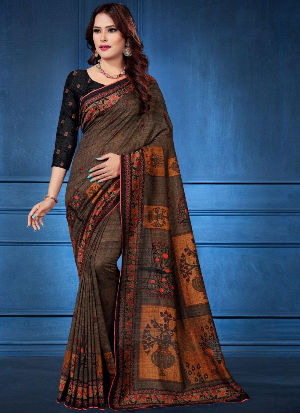 Tussar Silk Multi Colour Trendy Saree