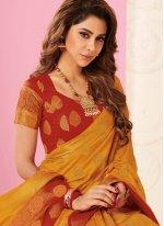 Tussar Silk Orange Weaving Traditional Designer Saree