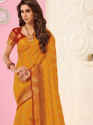 Tussar Silk Orange Weaving Traditional Designer Saree