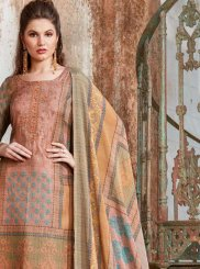 Tussar Silk Peach Embroidered Designer Palazzo Suit