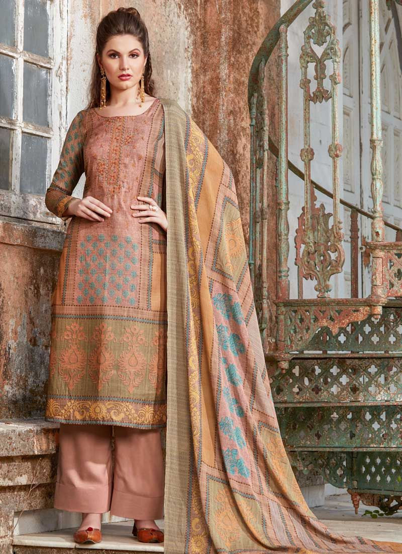 Tussar Silk Peach Embroidered Designer Palazzo Suit