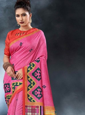 Tussar Silk Pink Printed Saree