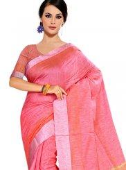 Tussar Silk Pink Weaving Casual Saree
