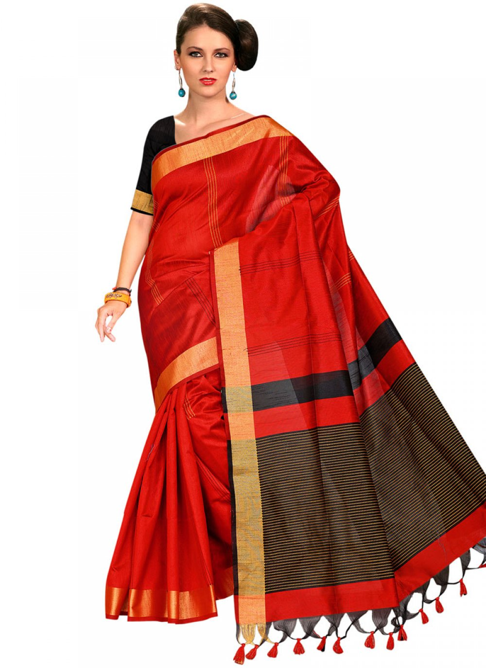 Tussar Silk Red Traditional Saree