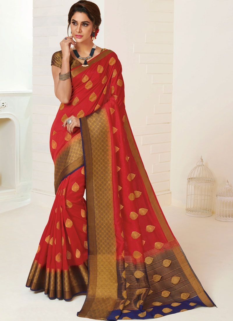 Tussar Silk Red Weaving Traditional Saree
