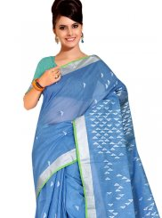 Tussar Silk Traditional Designer Saree in Blue