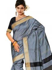 Tussar Silk Traditional Designer Saree in Blue