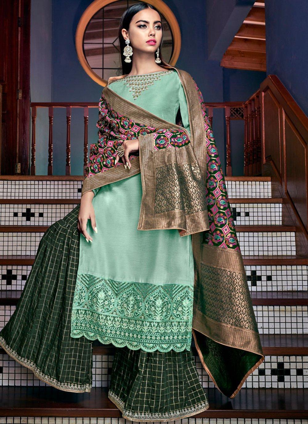 Tussar Silk Turquoise Designer Palazzo Salwar Kameez