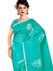 Tussar Silk Turquoise Weaving Casual Saree