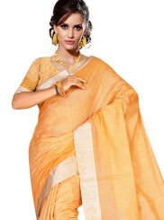 Tussar Silk Weaving Casual Saree in Orange