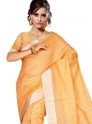 Tussar Silk Weaving Casual Saree in Orange