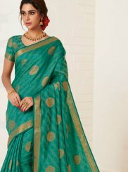Tussar Silk Weaving Designer Traditional Saree in Green