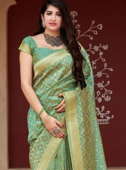 Tussar Silk Weaving Sea Green Classic Saree