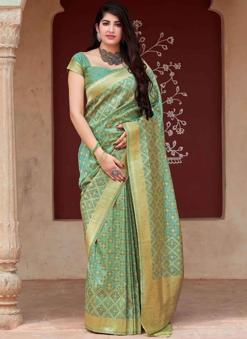 Tussar Silk Weaving Sea Green Classic Saree