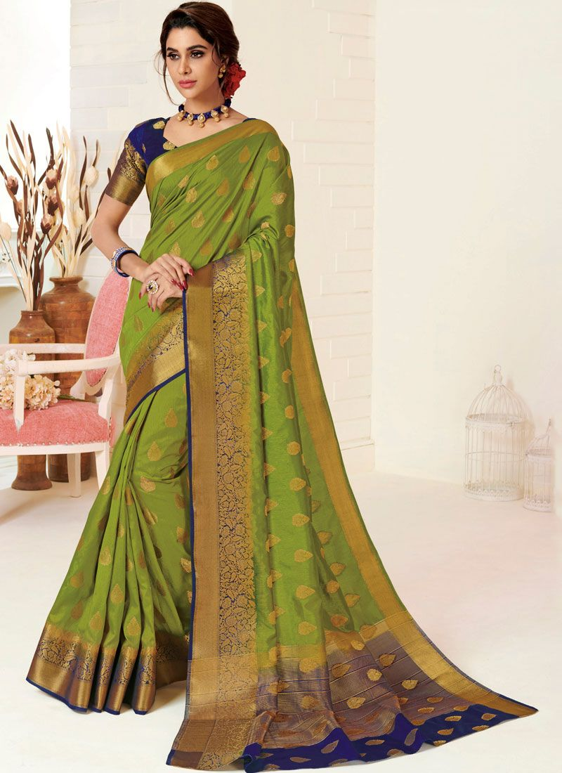Tussar Silk Weaving Traditional Designer Saree in Green