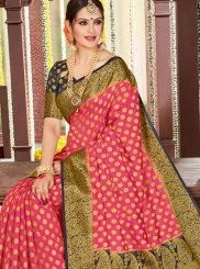 Tussar Silk Woven Pink Designer Traditional Saree