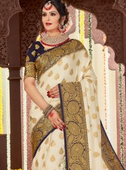 Tussar Silk Woven White Designer Traditional Saree