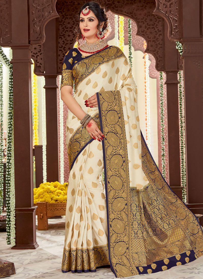Tussar Silk Woven White Designer Traditional Saree