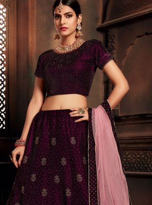 Velvet A Line Lehenga Choli in Wine