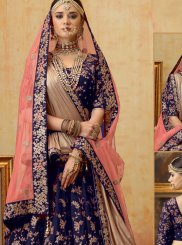 Velvet Blue Embroidered Trendy Lehenga Choli