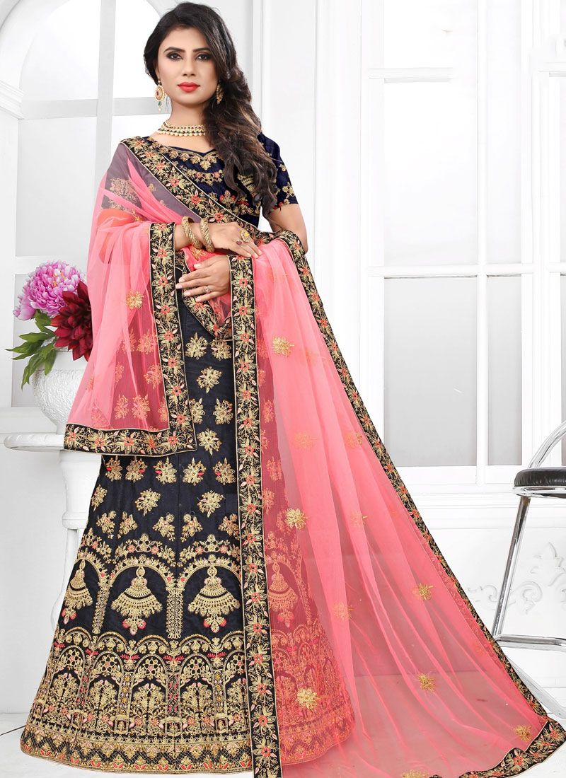 Velvet Blue Thread Designer Lehenga Choli