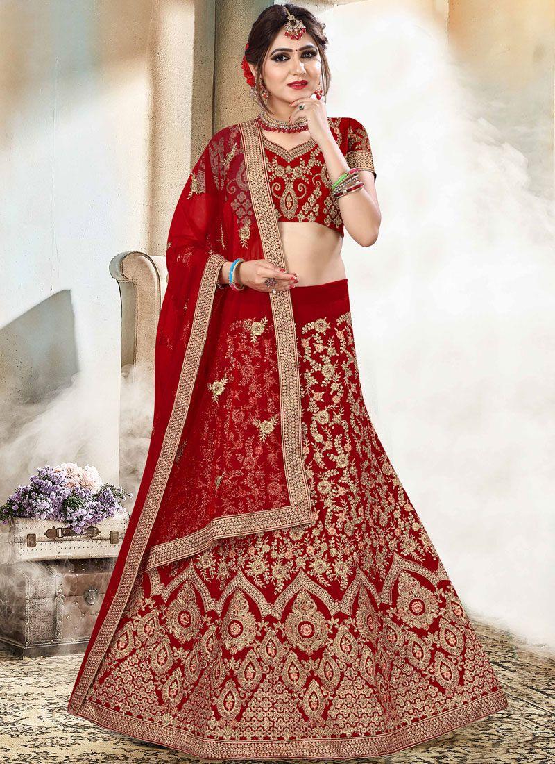 Velvet Bridal Lehenga Choli