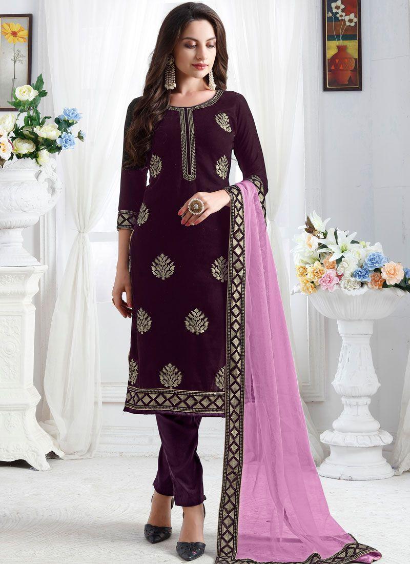 Velvet Churidar Designer Suit