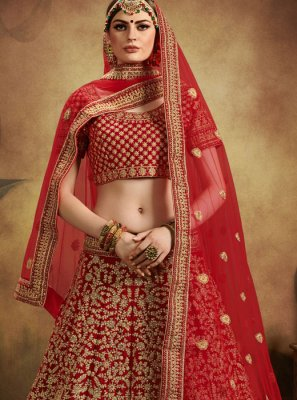 Velvet Designer Lehenga Choli in Red