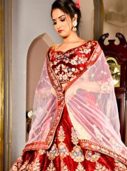 Velvet Dori Work Designer Lehenga Choli in Red
