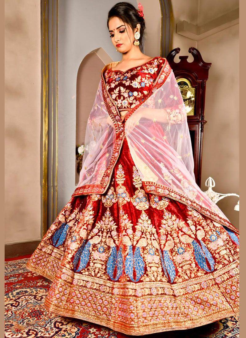 Velvet Dori Work Designer Lehenga Choli in Red