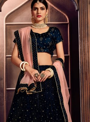 Velvet Embroidered Blue A Line Lehenga Choli