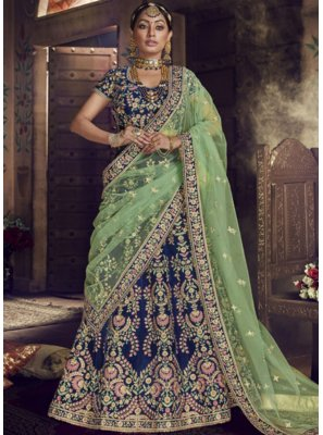 Velvet Embroidered Blue Lehenga Choli