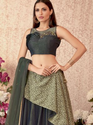 Velvet Embroidered Green Designer Lehenga Choli