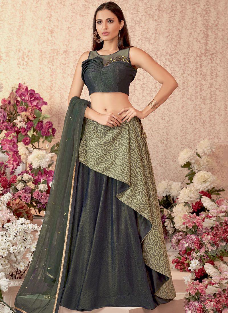 Velvet Embroidered Green Designer Lehenga Choli