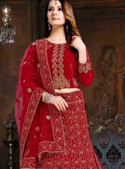 Velvet Embroidered Maroon Lehenga Choli
