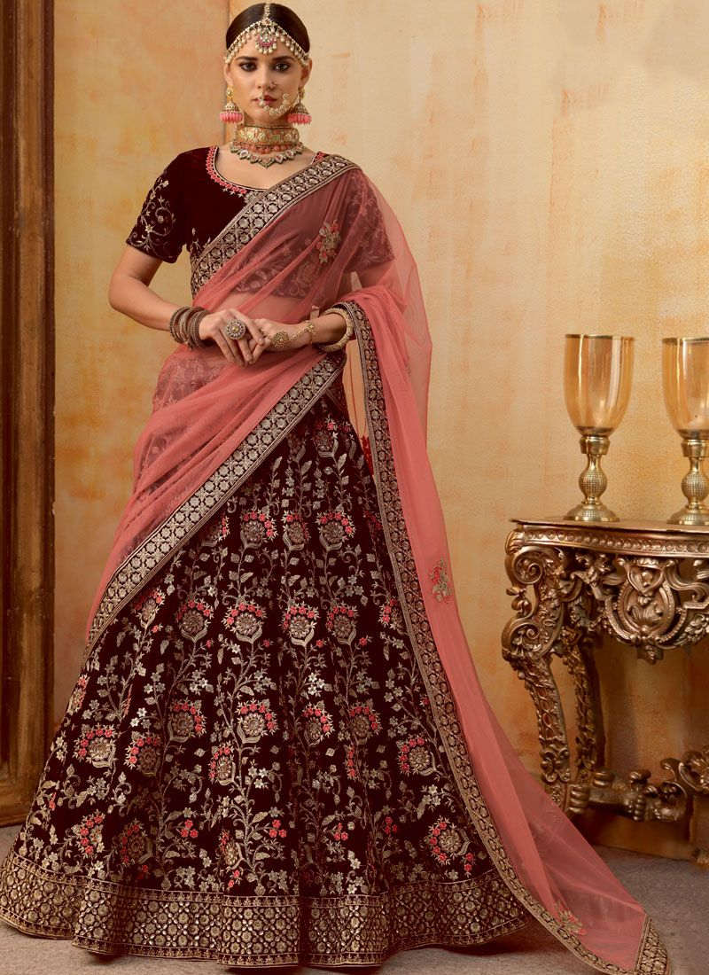 Velvet Embroidered Maroon Trendy Designer Lehenga Choli