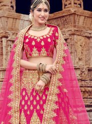 Velvet Embroidered Pink Trendy Lehenga Choli