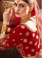 Velvet Embroidered Red Designer Lehenga Choli