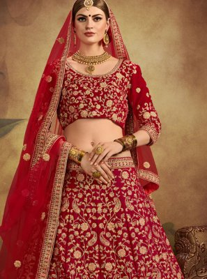 Velvet Embroidered Red Designer Lehenga Choli