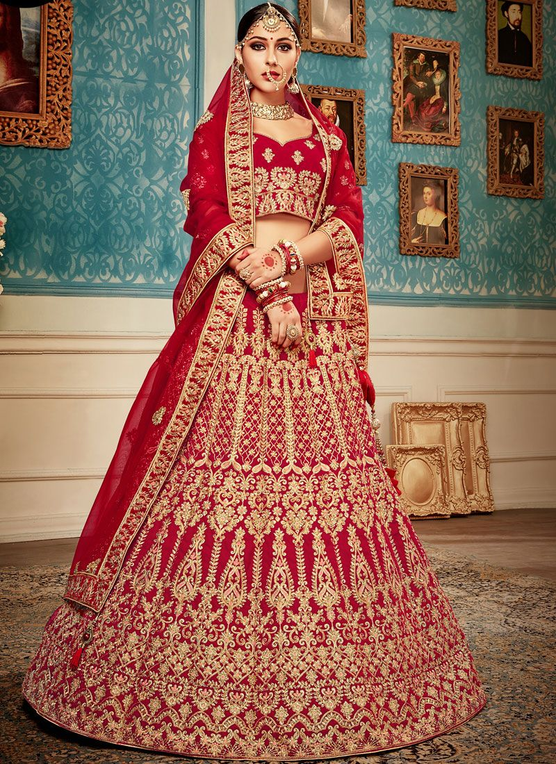 Velvet Embroidered Red Lehenga Choli