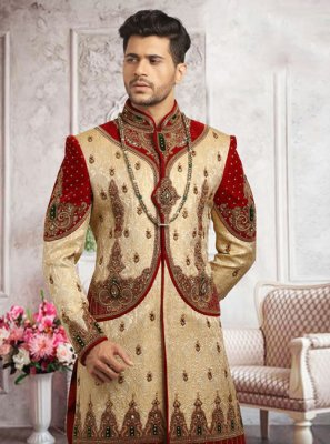 Velvet Embroidered Sherwani in Gold