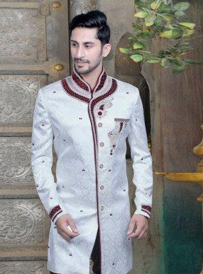 Velvet Embroidered Sherwani in Off White
