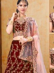 Velvet Embroidered Trendy A Line Lehenga Choli