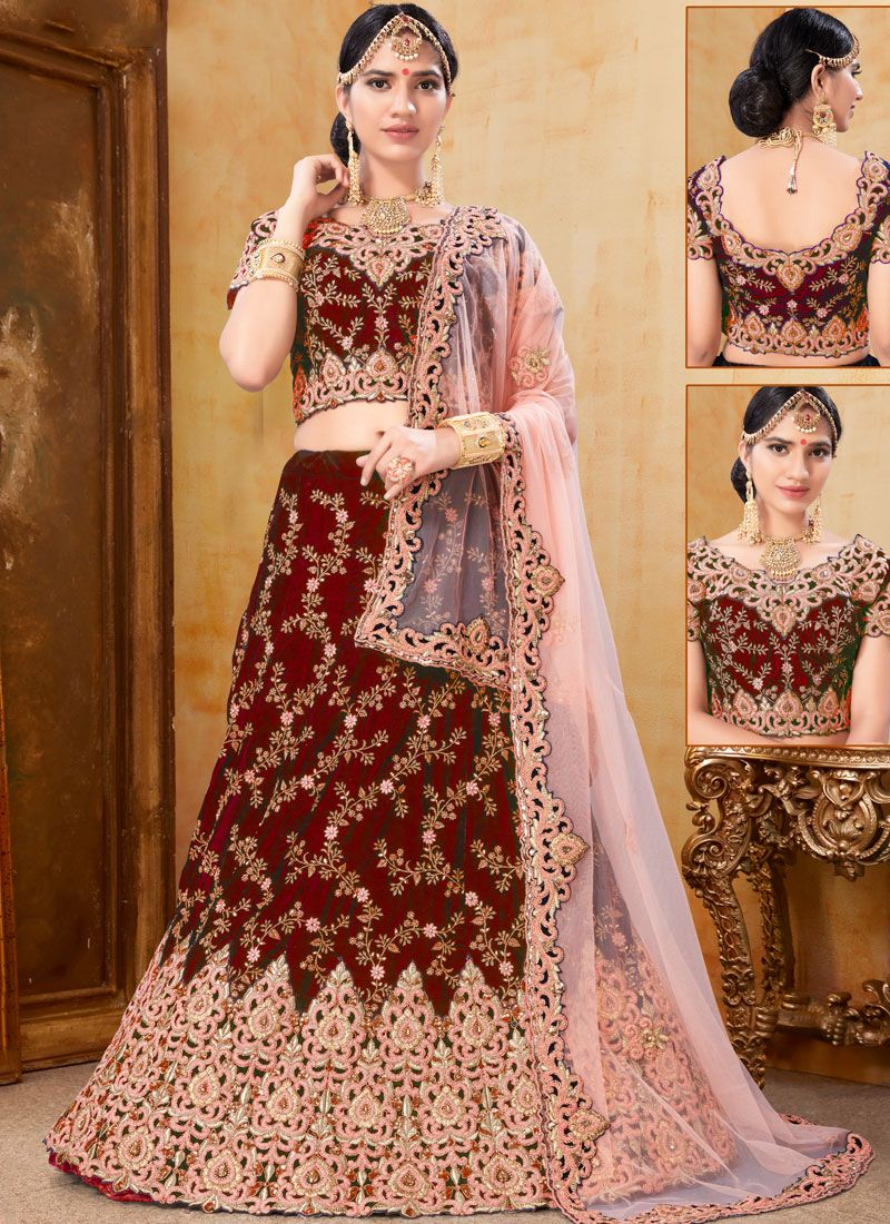 Velvet Embroidered Trendy A Line Lehenga Choli