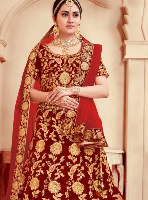 Velvet Embroidered Trendy Lehenga Choli