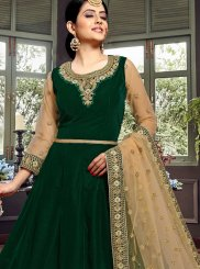 Velvet Green Embroidered Floor Length Anarkali Suit