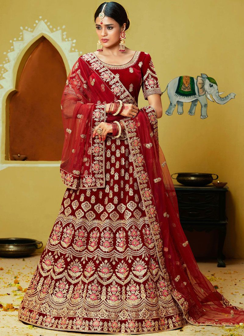 Velvet Reception Lehenga Choli