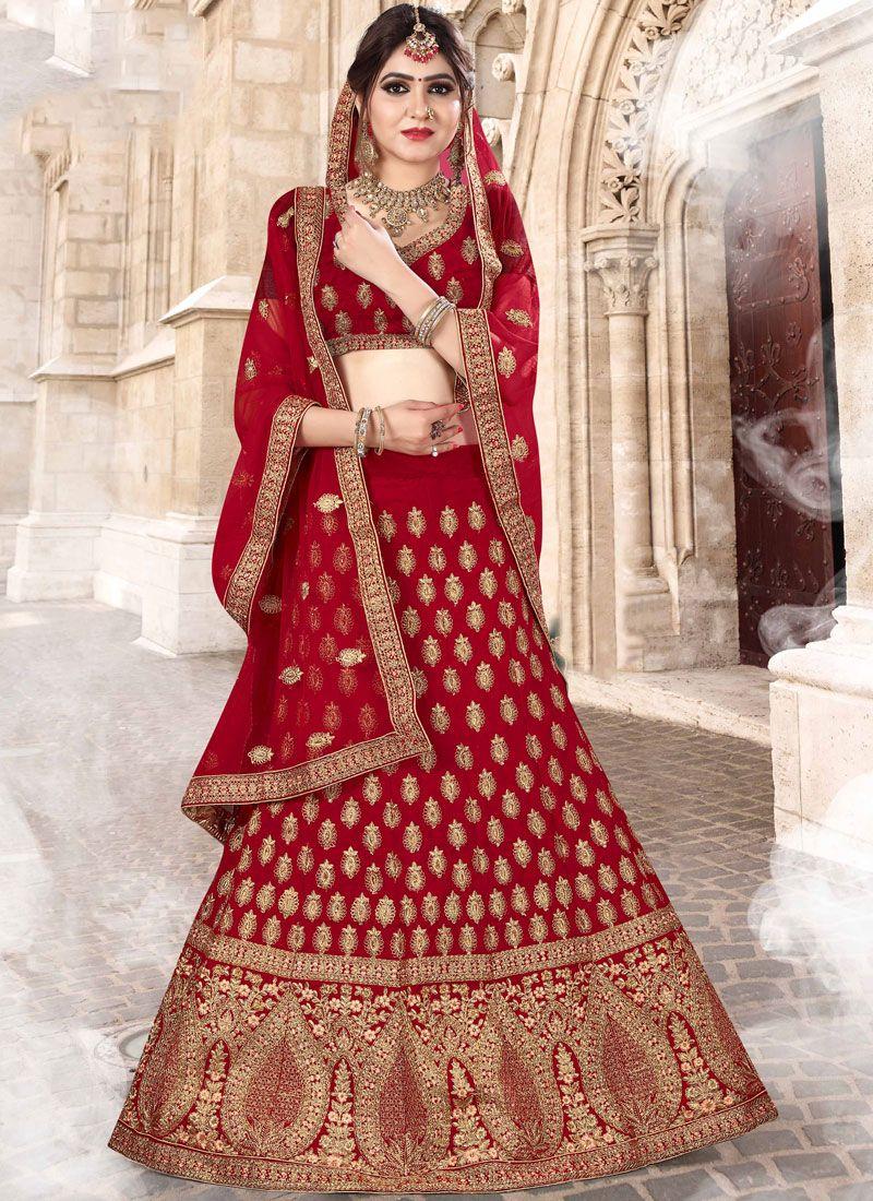 48eacc3568b72e Buy Velvet Red Patch Border Lehenga Choli Online -